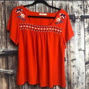 Anthropologie Hazel MED orange blouse embroidery